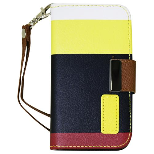 Exian Samsung Galaxy S4 PU Leather Wallet Multi Color Yellow