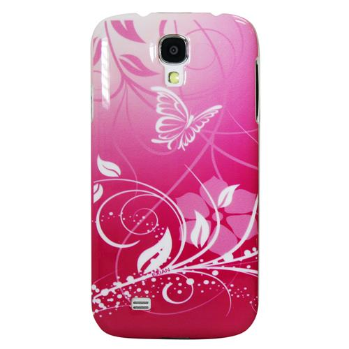 Exian Samsung Galaxy S4 Hard Plastic Case Exian Design Flower & Butterfly Pink