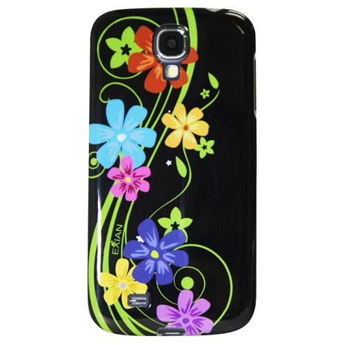 Exian Samsung Galaxy S4 TPU Case Exian Design Multi Color Floral on Black