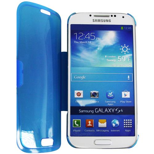 Exian Samsung Galaxy S4 TPU Case with Front Cover & Stand Frosted Transparent Blue