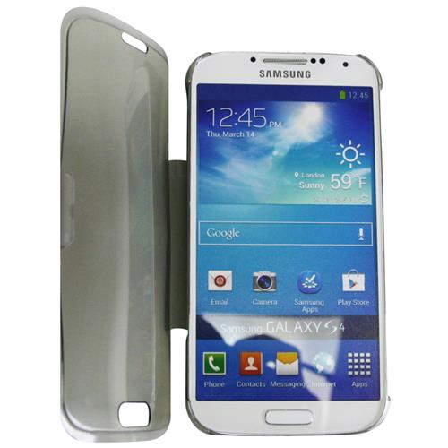 Exian Samsung Galaxy S4 TPU Case with Front Cover & Stand Frosted Transparent Grey