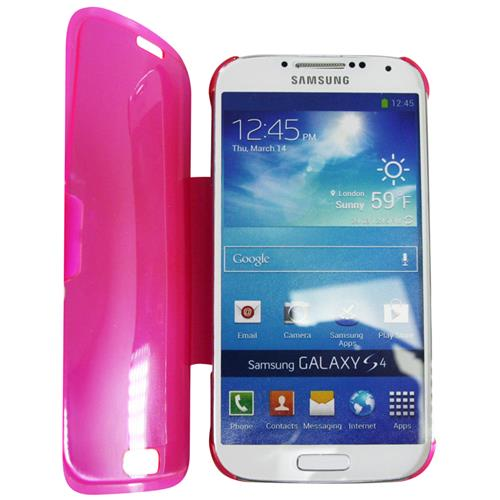 Exian Samsung Galaxy S4 TPU Case with Front Cover & Stand Frosted Transparent Pink
