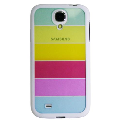 Exian Samsung Galaxy S4 Silicone Bumper Case with Rainbow Hard Plastic Backcover White