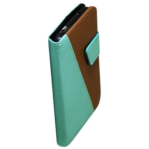 Exian Samsung Galaxy S4 PU Leather Wallet 2-Tone Color Green/Brown