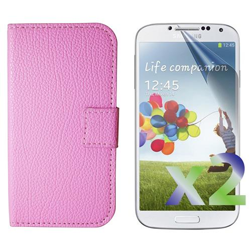 Exian Samsung Galaxy S4 PU Leather Wallet Pink