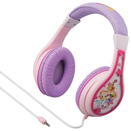 kiddesigns shopkins over ear noise cancelling kids headphones pink purple over ear. Black Bedroom Furniture Sets. Home Design Ideas