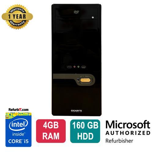 GigaByte Custom Tower, Intel Core i5, 4GB RAM, 160GB HDD, DVD-ROM, Windows 10 - Refurbished