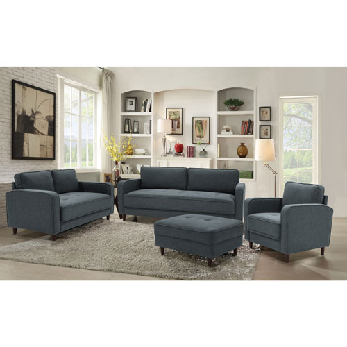 Madellaine Contemporary Polyester Sofa Dark Grey Sofas Best