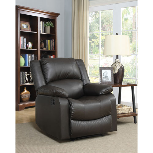 Warren Traditional Faux Leather Recliner Chair - Java