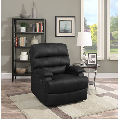 Joyce Traditional Faux Leather Recliner Chair - Black