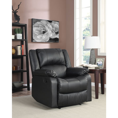 Warren Traditional Faux Leather Recliner Chair - Black