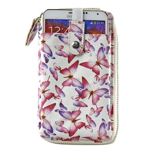 Navor Wristlet Wallet Case Messenger Bag Purse with Shoulder Strap for iPhone, iPod, Samsung, LG etc. (Butterfly)