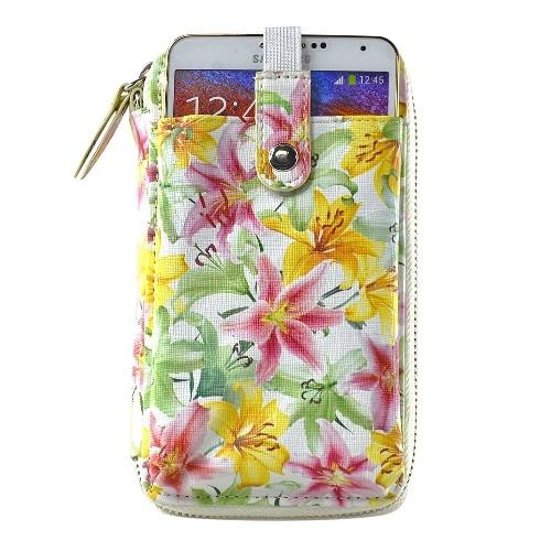 Navor Wristlet Wallet Case Messenger Bag Purse with Shoulder Strap for iPhone, iPod, Samsung, LG etc. (Colorful Lily)