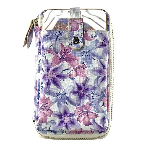 Navor Wristlet Wallet Case Messenger Bag Purse with Shoulder Strap for iPhone, iPod, Samsung, LG etc. (Purple Lily)