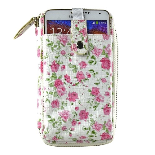 Navor Wristlet Wallet Case Messenger Bag Purse with Shoulder Strap for iPhone, iPod, Samsung, LG etc. (Rose)