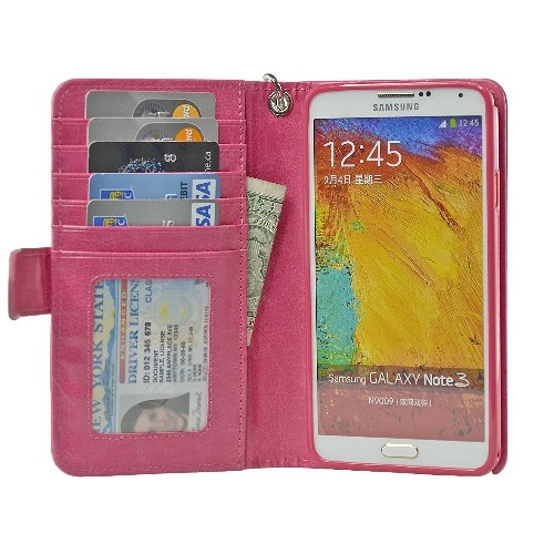 Navor Protective Flip Wallet Case for Samsung Galaxy Note 3 - Hot Pink