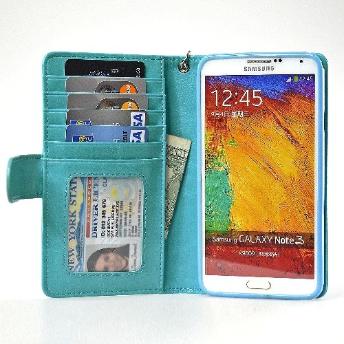 Navor Protective Flip Wallet Case for Samsung Galaxy Note 3 - Light Blue
