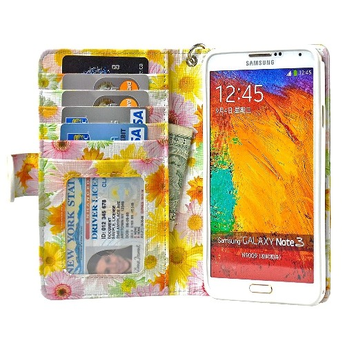 Navor Protective Flip Wallet Case for Samsung Galaxy Note 3 - Sunflower