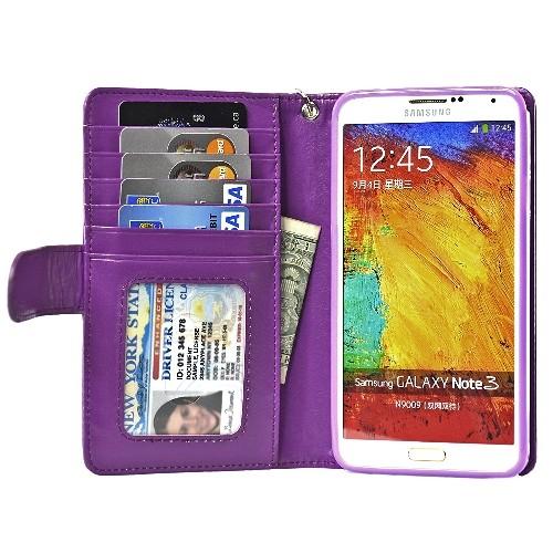 Navor Protective Flip Wallet Case for Samsung Galaxy Note 3 - Violet