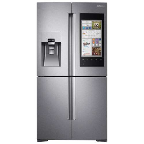 samsung family hub 36 4 door french door refrigerator with ice water dispenser stainless. Black Bedroom Furniture Sets. Home Design Ideas