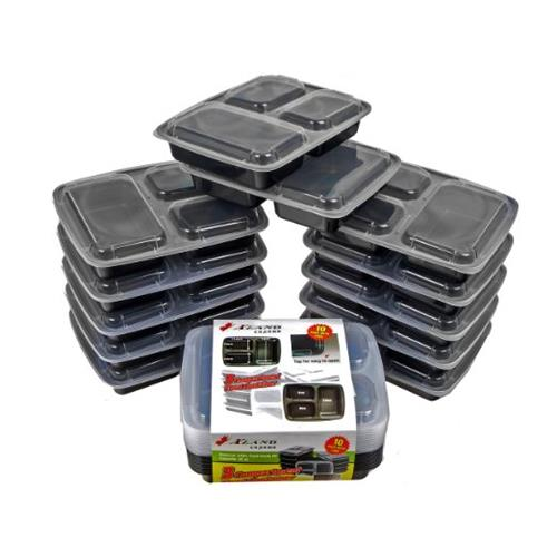 xland canada 3 compartment food bento lunch boxes with lids meal prep food containers 10 pack. Black Bedroom Furniture Sets. Home Design Ideas