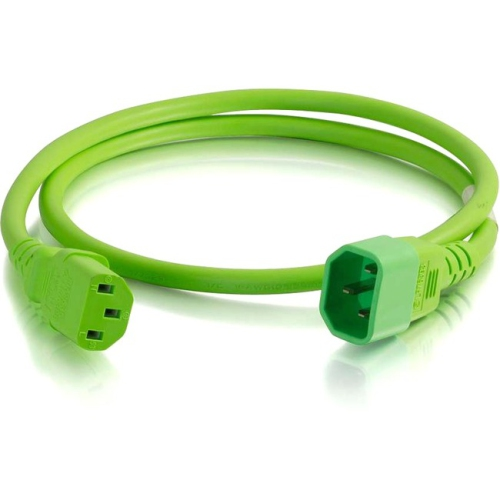 C2G 1ft 14AWG Power Cord (IEC320C14 to IEC320C13) - Green