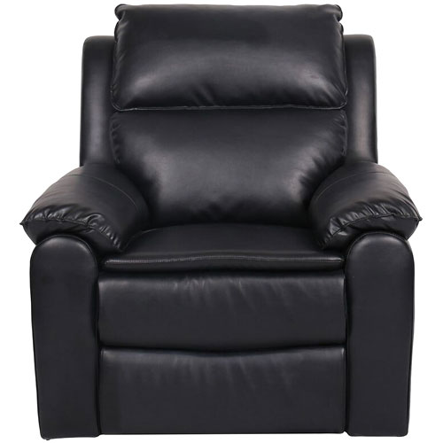Lancaster Traditional Faux Leather Recliner Chair - Black