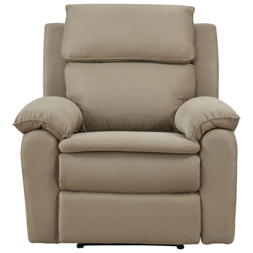 Toby Traditional Micro Suede Recliner Chair - Beige