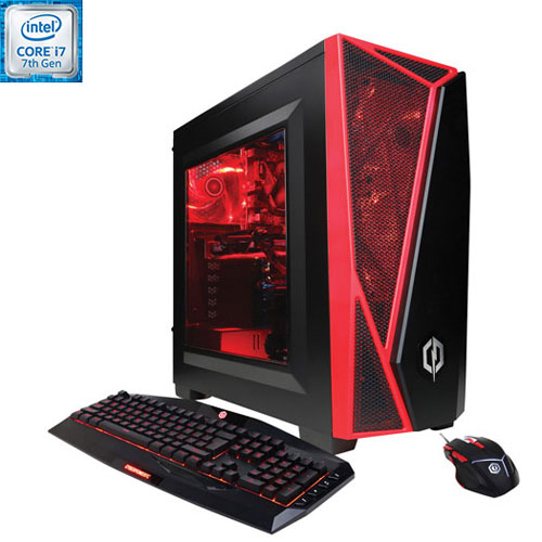 Gamer Xtreme VR de CyberPowerPC - Rouge (Core i7-7700 Intel/DD 2 To/RAM 16 Go/Radeon RX 580 AMD)-Ang