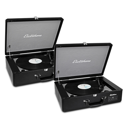 Electrohome Vinyl Record Player Classic Turntable with Built-in Speakers, USB for MP3s, & Headphone Jack - 2 PACK