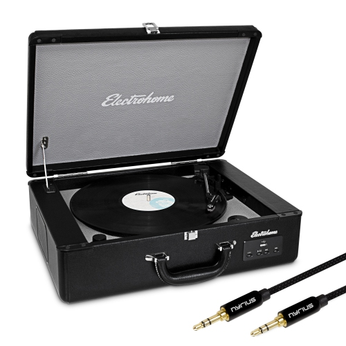 Electrohome Vinyl Record Player Classic Turntable with Built-in Speakers, USB for MP3s & Bonus 3.5mm Aux Stereo Cable
