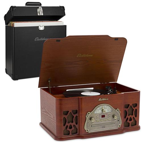 Electrohome Vinyl Record Player Classic Turntable with Built-in Speakers, Headphone Jack with BONUS Vinyl Carrying Case