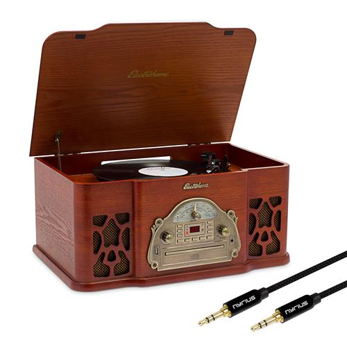 Electrohome Record Player Retro Vinyl Turntable Stereo System, AM/FM, CD, Vinyl-to-MP3 & Bonus 3.5mm Aux Stereo Cable