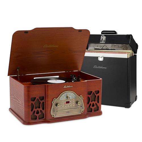 Electrohome Record Player Retro Vinyl Turntable Stereo System, AM/FM, CD, Vinyl-to-MP3, with BONUS Vinyl Carrying Case