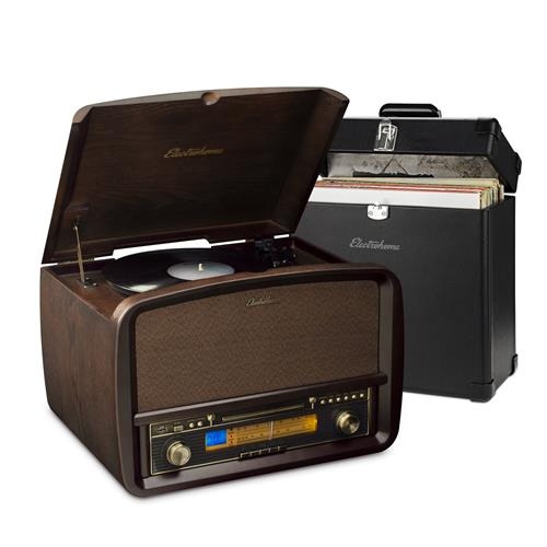 Electrohome Signature Vinyl Record Player Classic Turntable Hi-Fi Stereo System with BONUS Vinyl Carrying Case
