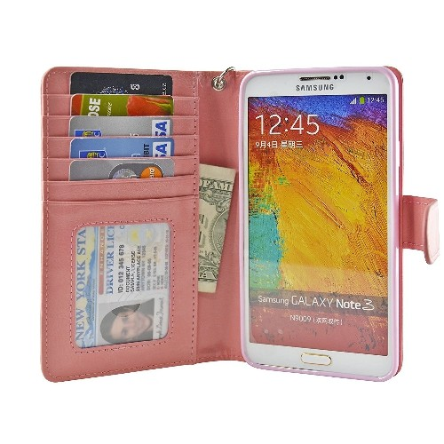 Navor Protective Flip Wallet Case for Samsung Galaxy Note 3 - Peach