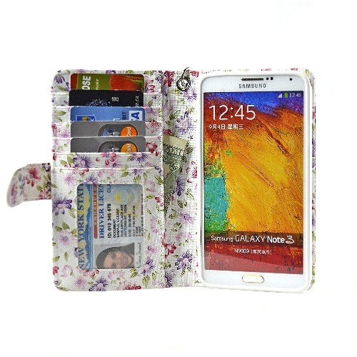 Navor Protective Flip Wallet Case for Samsung Galaxy Note 3 - PR Flower