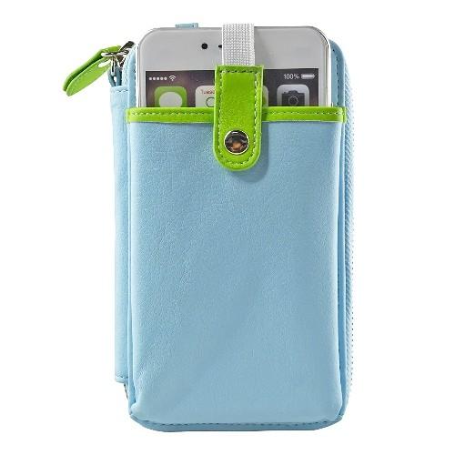 Navor Wristlet Wallet Case Messenger Bag Purse with Shoulder Strap for iPhone, iPod, Samsung, LG etc. (Light Blue)