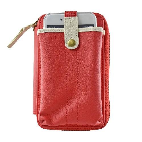 Navor Wristlet Wallet Case Messenger Bag Purse with Shoulder Strap for iPhone, iPod, Samsung, LG etc. (RED)