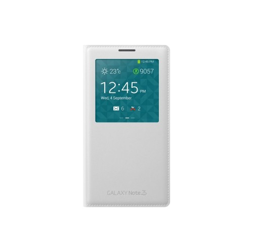 Flip Cover Case for Samsung S View Flip Cover for Galaxy Note 3 - White