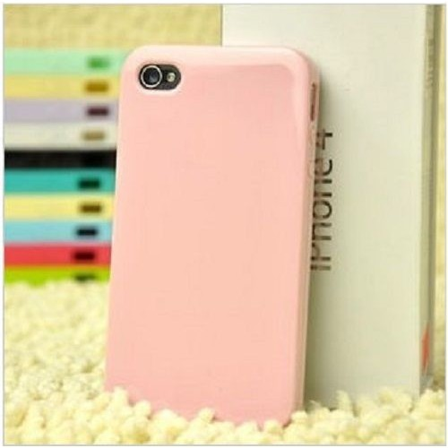 Glossy Soft TPU Gel Case Cover Protector Shell for iPhone 4 / 4S - Pink