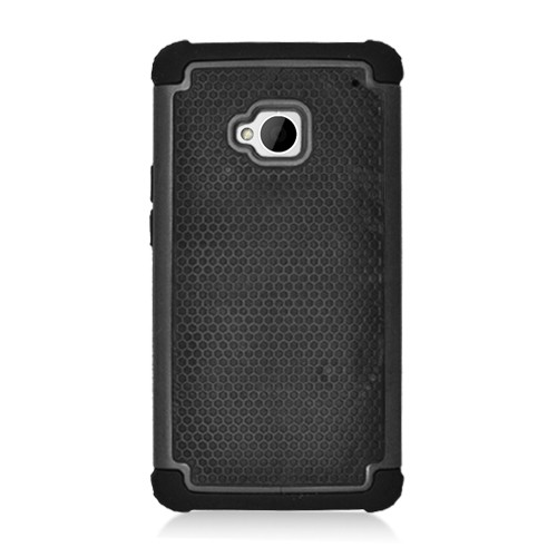 Hybrid Hard Phone Case Cover Accessory For HTC One M7 - Black