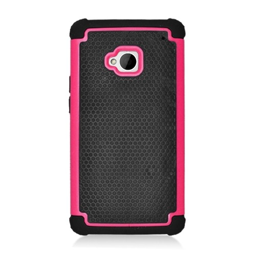 Hybrid Hard Phone Case Cover Accessory For HTC One M7 - Black / Hot Pink
