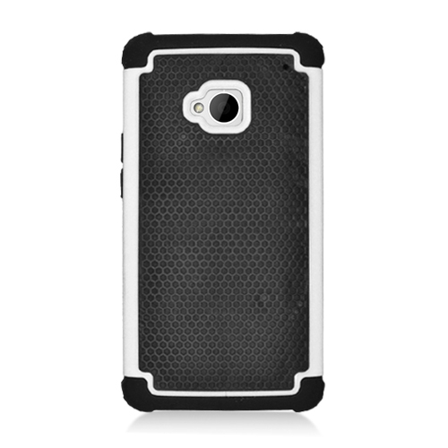 Hybrid Hard Phone Case Cover Accessory For HTC One M7 - Black / White