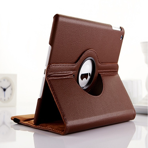 360 Degree Rotating PU Leather Case Smart Cover Stand for Apple iPad Air - Brown