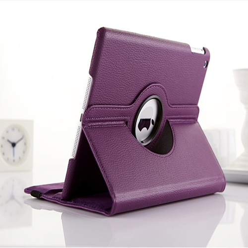 360 Degree Rotating PU Leather Case Smart Cover Stand for Apple iPad Air - Purple
