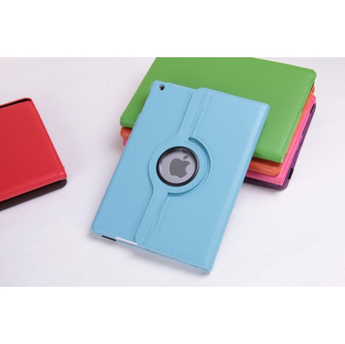 360 Degree Rotating PU Leather Case Smart Cover Stand for Apple iPad Air - Baby Blue