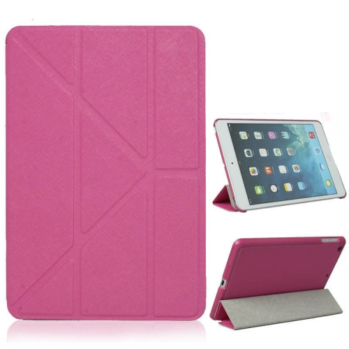 Origami Style Cross Texture Premium Leather Case Smart Cover for iPad Air - Hot Pink