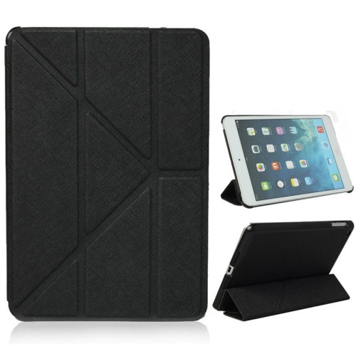 Origami Style Cross Texture Premium Leather Case Smart Cover for iPad Air - Black