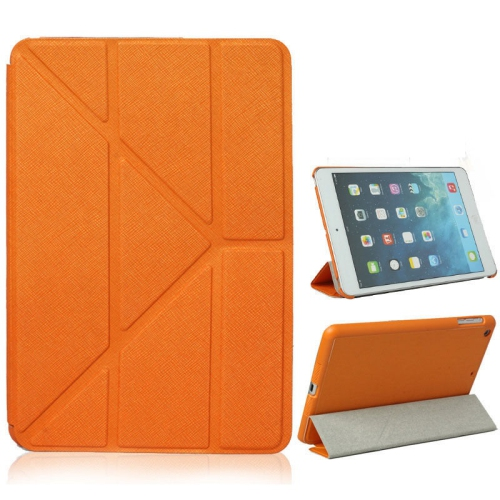 Origami Style Cross Texture Premium Leather Case Smart Cover for iPad Air - Orange